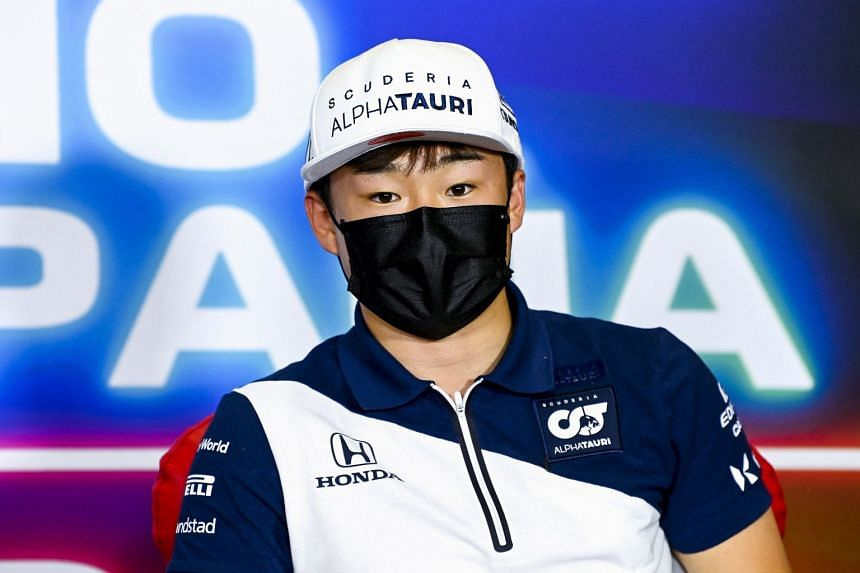 AlphaTauri driver Yuki Tsunoda during the drivers' press conference ahead of the Spanish grand prix.