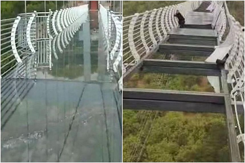 Several pieces of glass from the deck of a glass-bottom bridge at a resort in north-east China's Jilin province were blown off by strong winds on Friday, sparking online discussions about the safety of such bridges. PHOTO: SINA WEIBO