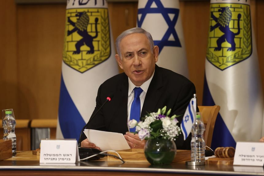 Prime Minister Benjamin Netanyahu during a special cabinet meeting in Jerusalem, on May 9, 2021.