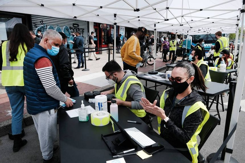 A mobile vaccination site is set up in the Bronx in New York City, on May 7, 2021.