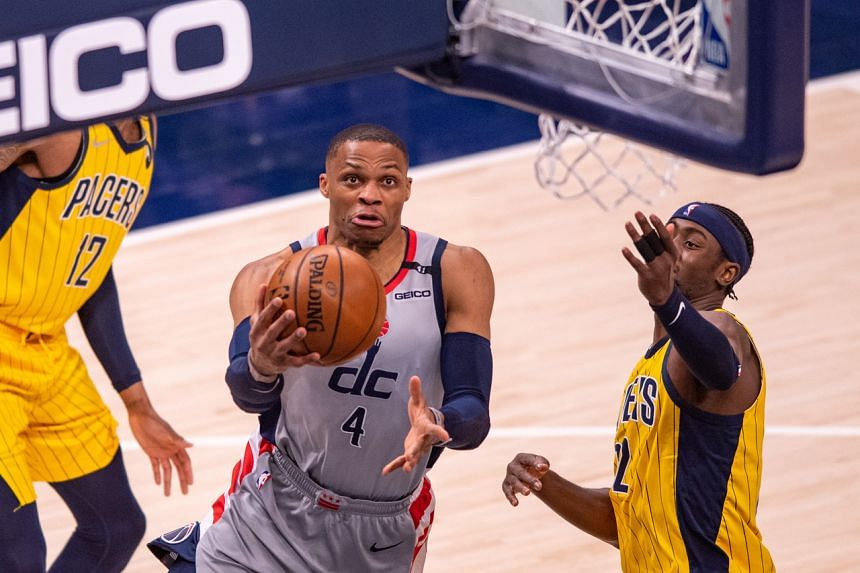 Russell Westbrook (4) drives to the basket during the second half of an NBA basketball game against the Indiana Pacers at Bankers Life Fieldhouse, Indianapolis, on May 8, 2021.