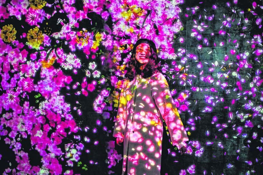 Digital art takes on myriad designs at the teamLab Borderless exhibition (above and right) in Shanghai. TeamLab, an art collective of practitioners from different disciplines such as animation, engineering and architecture, explores relationships bet