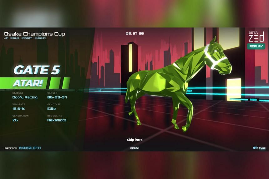 An NFT horse on Zed Run, a platform where players can buy, breed and race digital steeds.