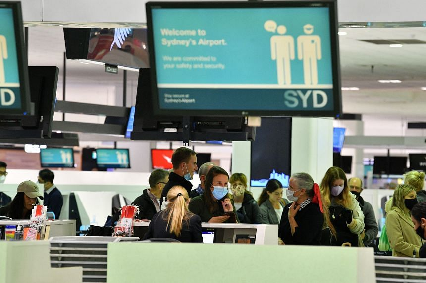 Passengers at the Sydney International Airport on April 19, 2021.