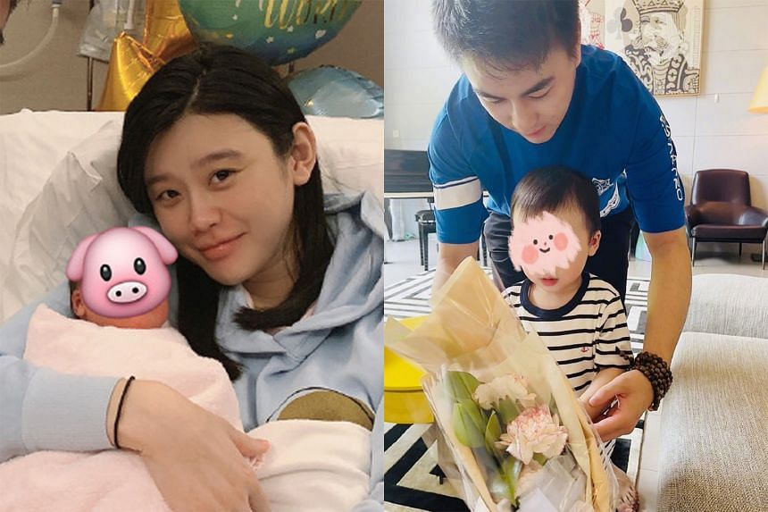 Ming Xi (left, in a photo taken when her first child was born) posted a photo of her husband and son (right) giving her a bouquet on Mother's Day.