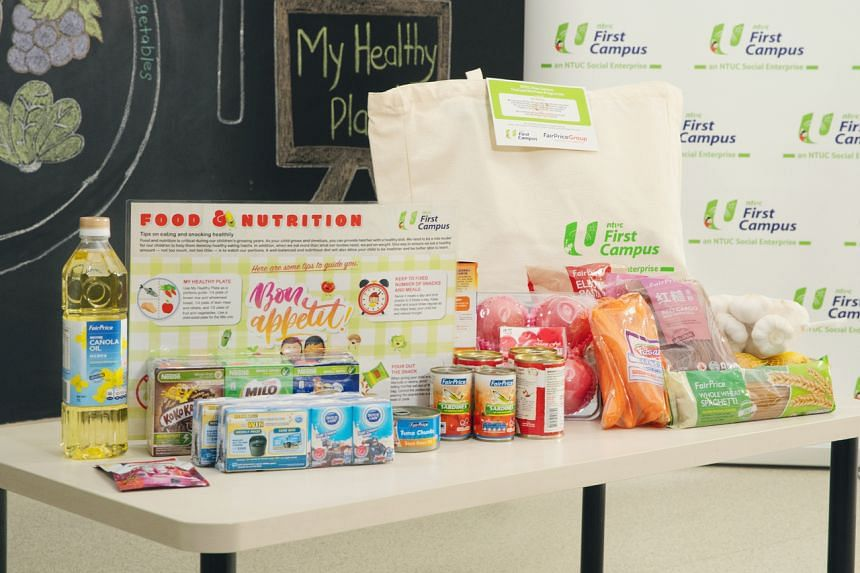 The food packs will include fruits and vegetables, and FairPrice Housebrand products.