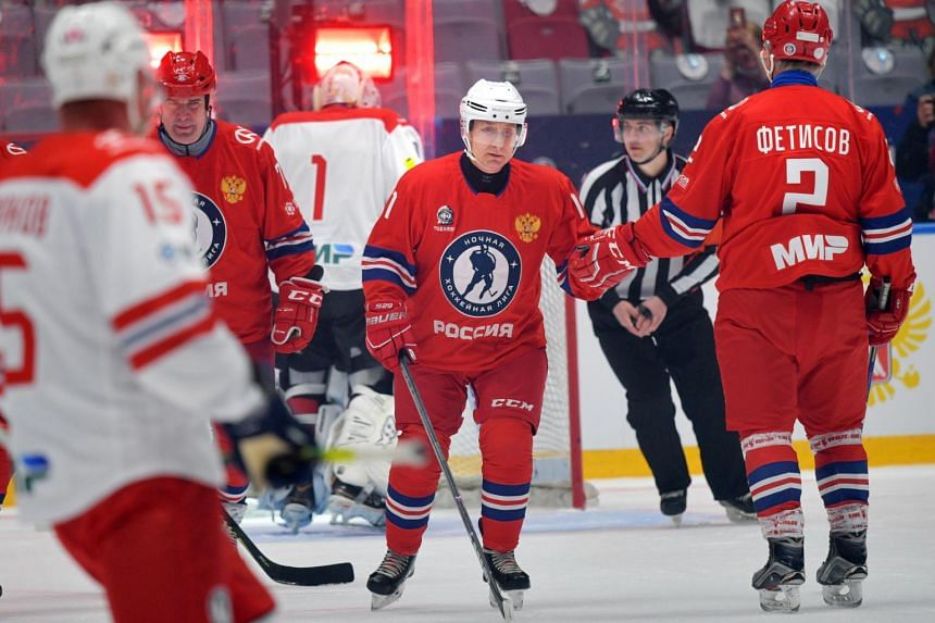 Mr Vladimir Putin takes part in a gala match as part of the final stage of the X All-Russian Night Hockey League festival on May 10, 2021.
