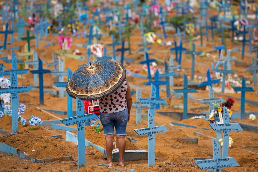 A visitor at the Nossa Senhora Aparecida cemetery in Manaus, Brazil, on Sunday. Health experts warn that the world is getting vaccinated too slowly for there to be much hope of ever eliminating the coronavirus.