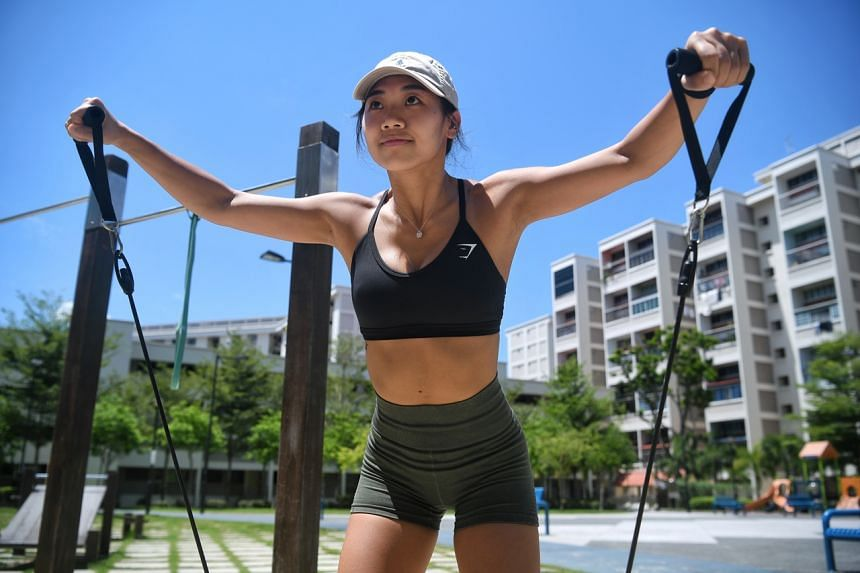 Ms Chen Lu has turned to using resistance bands, workout cables and dumbbells at home.