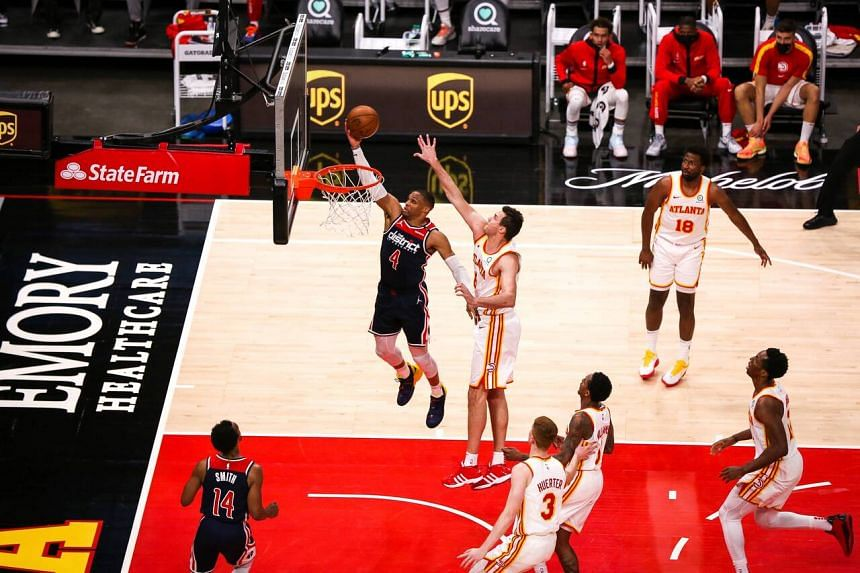 Washington Wizards star  Russell Westbrook sealed his record-breaking triple with 8min 33sec remaining in the game against the Atlanta Hawks.