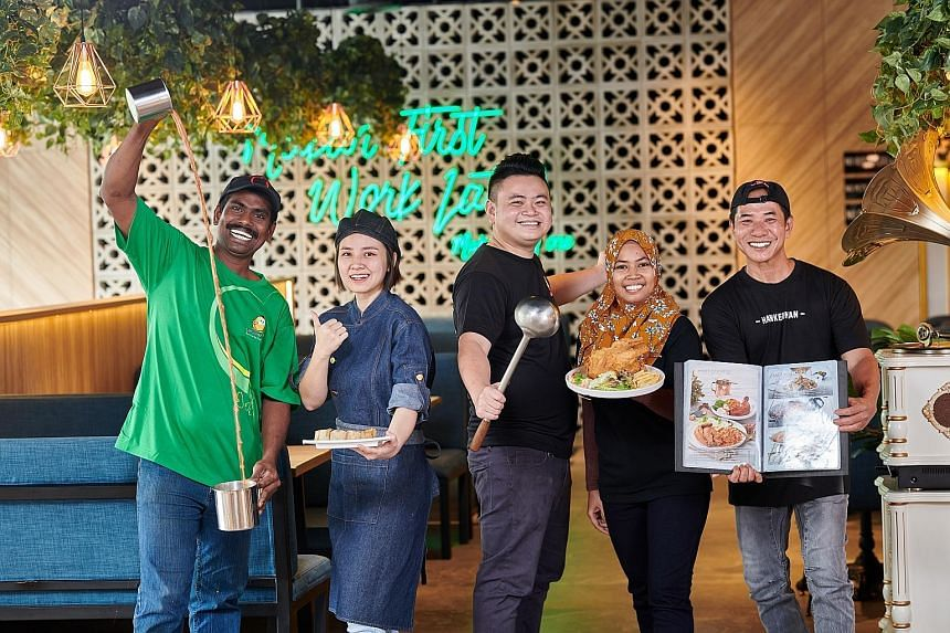 A Kimly Seafood worker (far left) holding a digital menu at its zichar outlet in Bukit Batok. Tenderfresh (left) manages 14 concepts and 41 outlets, ranging from Western fares and traditional local cuisines to catering, retail outlets and original eq