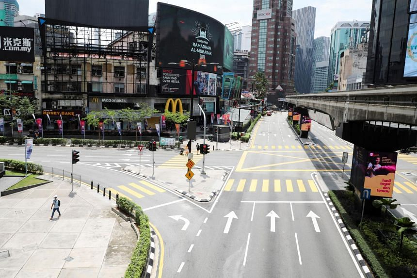 A deserted street during a lockdown in Kuala Lumpur on May 11, 2021.