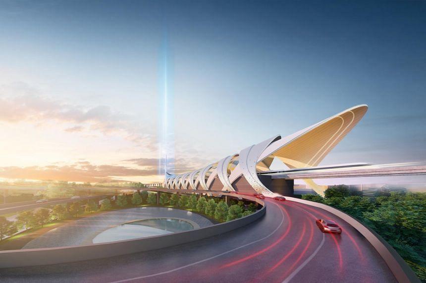 An artist's impression of the Johor Baru-Singapore Rapid Transit System Link Station in Bukit Chagar.