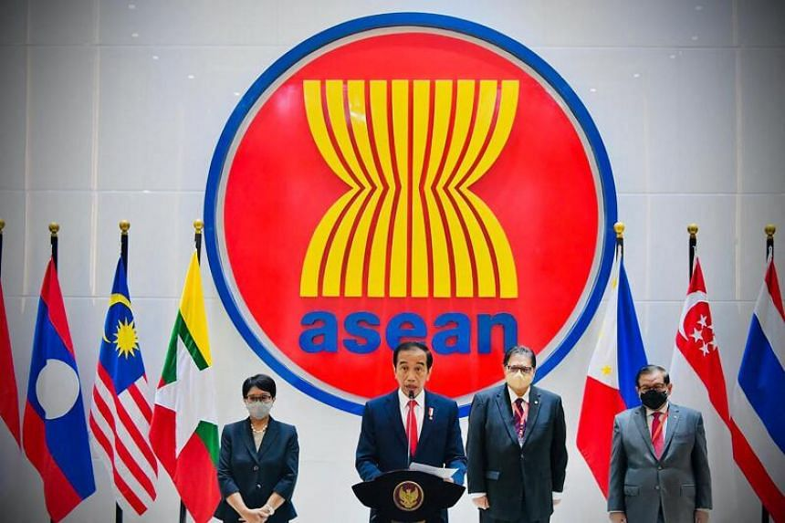 Indonesian President Joko Widodo delivering his speech at the Association of Southeast Asian Nations (Asean) during Myannmar crisis talks in Jakarta on April 24, 2021.