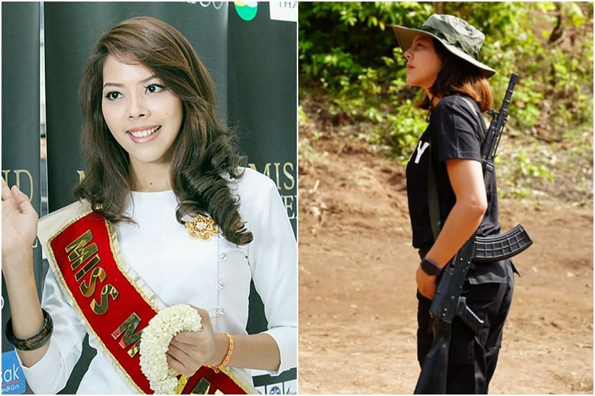 Ms Htar Htet Htet, who competed in the Miss Grand International in 2013, now wears combat fatigues and carries a rifle.