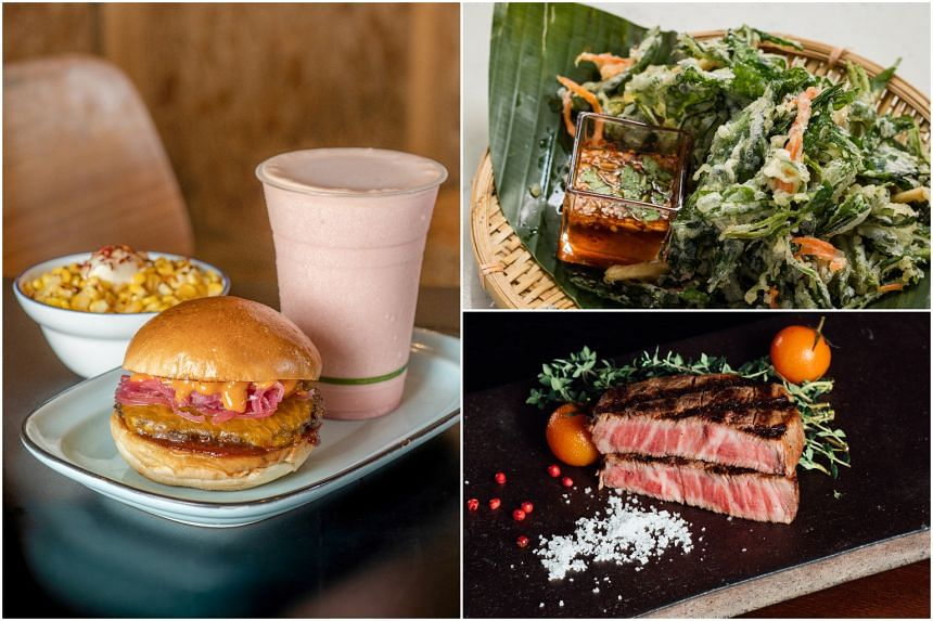 Dishes from Tiga Roti, Crispy Kang Kong from Blue Jasmine and  Olive Craft Wagyu from Origin Grill & Bar.