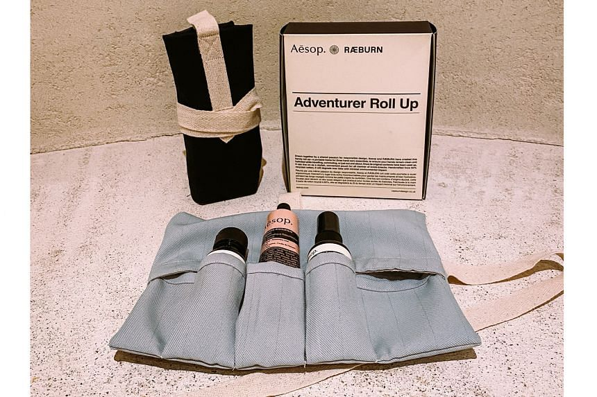 Working with other brands, they have also created items from old fabrics, such as roll-up pouches (above) for skincare brand Aesop and placemats for Cloudstreet restaurant.