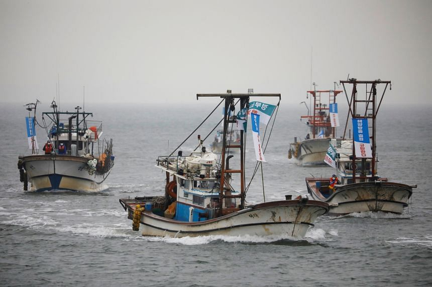 South Korean fishing boats taking part in a marine protest at the sea off Incheon, on April 30, 2021.
