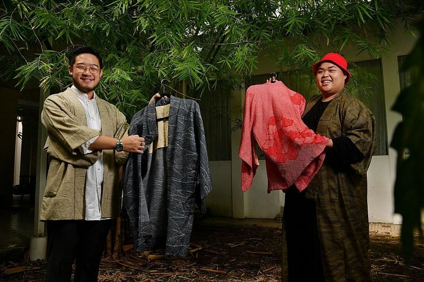 Designers Eshton Chua (far left) and Suffian Samat (left) with restored kimonos. Working with other brands, they have also created items from old fabrics, such as roll-up pouches (top) for skincare brand Aesop and placemats (above) for Cloudstreet re