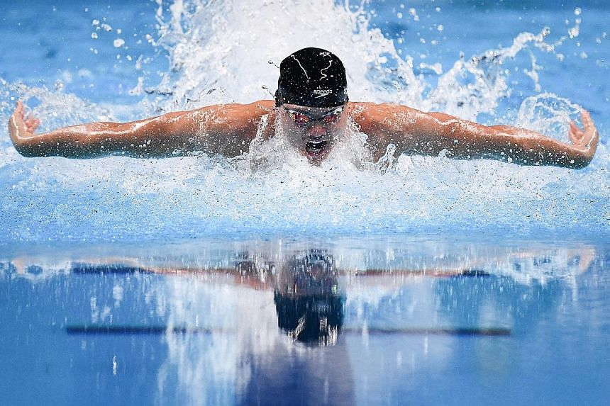 Singapore swimmer Joseph Schooling (left) will defend his Olympic 100m fly gold at the Tokyo Games against the likes of world record holder and favourite Caeleb Dressel (above) of the United States.