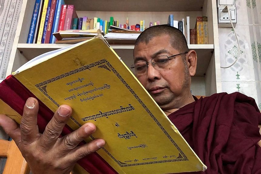 Ultra-nationalist Buddhist monk Parmaukkha blames the media for the rising death toll on the streets, saying it is inciting opposition to the junta. PHOTO: AGENCE FRANCE-PRESSE
