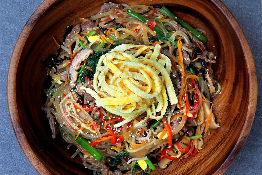 Japchae is a multi-sensory experience and the perfect centrepiece to brighten any dinner table.
