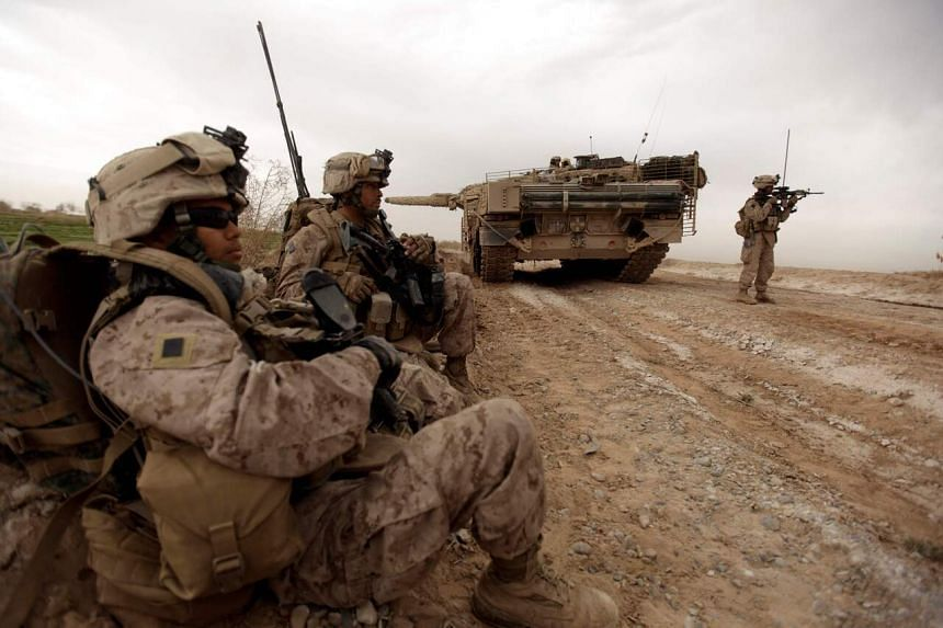 US marines on the outskirts of Marjah, Afghanistan, on Feb 21, 2010.
