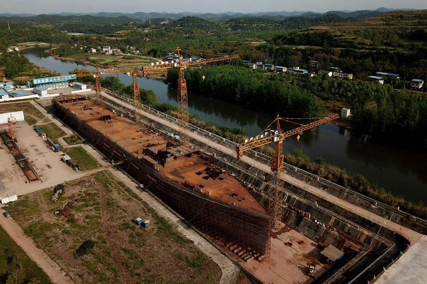 A replica of the Titanic ship in Daying County in China's southwest Sichuan province is under construction, on April 27, 2021.