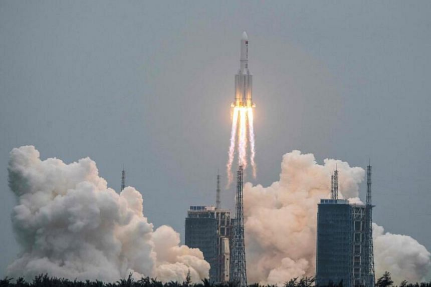 A Long March 5B rocket carrying China's Tianhe space station core module lifting off from the Wenchang Space Launch Center in Hainan, China, on April 29, 2021.