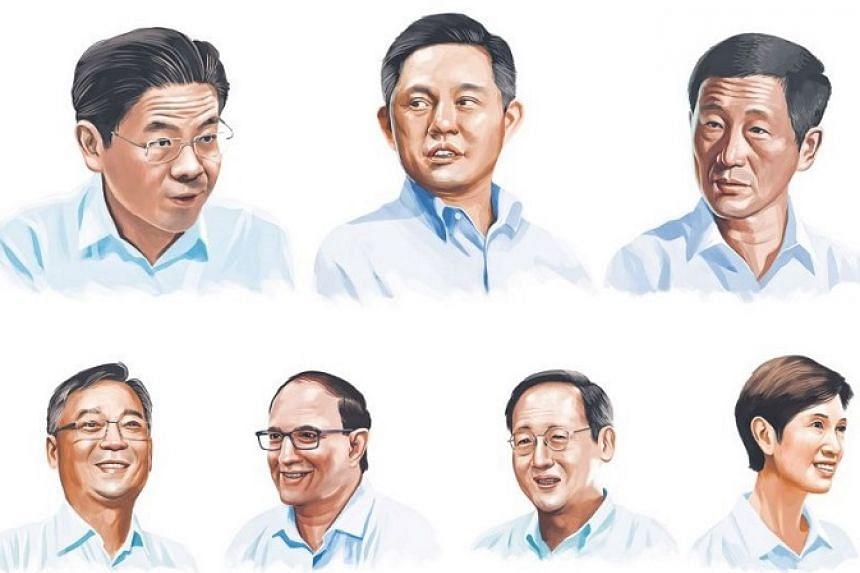 (Clockwise from top left) Lawrence Wong, Chan Chun Sing, Ong Ye Kung, Josephine Teo, Tan See Leng, S. Iswaran and Gan Kim Yong.