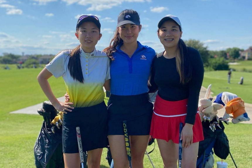 (From left) Miyoko Tan, Janane Tan and Belle Tan at the Hackberry Creek Country Club on May 13, 2021.