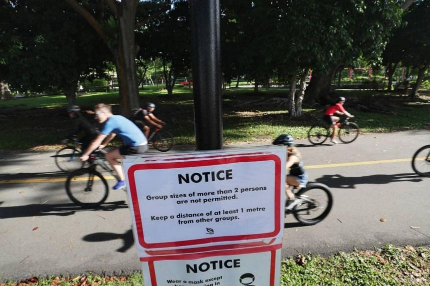 People cycling at East Coast Park on May 16, 2021.
