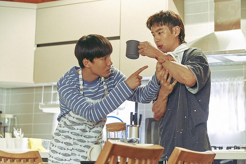 Tang Jun-sang (far left) and Lee Je-hoon (left) play estranged relatives who grow closer over the course of their work as trauma cleaners, tidying up what the dead left behind.