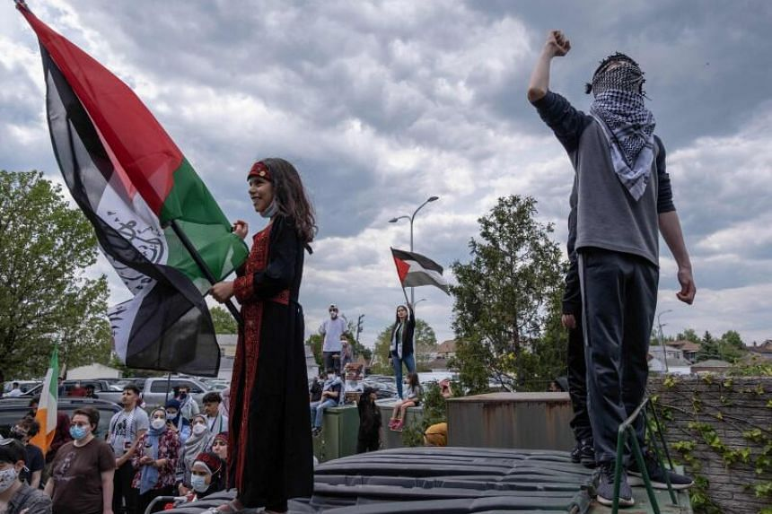 Hundreds of residents of Dearborn, Michigan, gather on May 15, 2021, to protest the actions of the Israeli Army in Gaza.