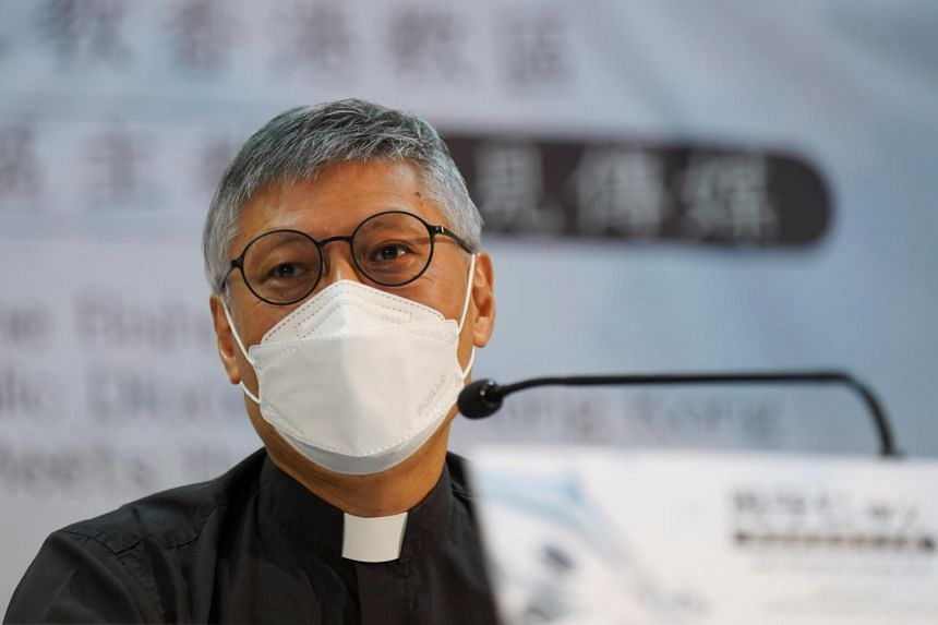 Newly appointed bishop Stephen Chow trod carefully on questions about China's treatment of religions and the destruction of churches in the mainland.