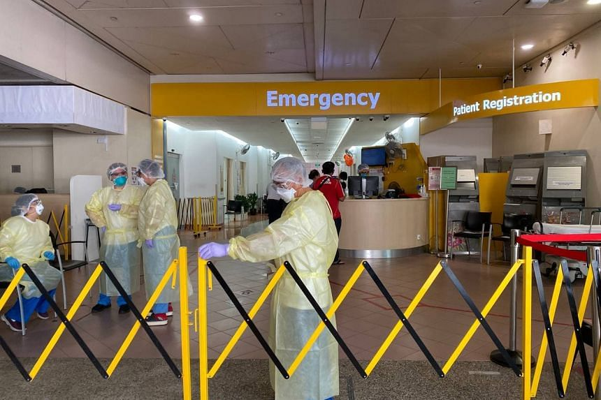 The entrance of the emergency department at Tan Tock Seng Hospital on May 18, 2021.