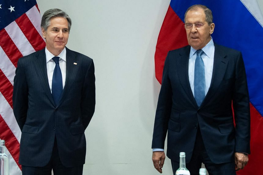 US Secretary of State Antony Blinken (left) and Russian Foreign Minister Sergei Lavrov meet on the sidelines of the Arctic Council ministerial meeting in Reykjavik on May 19, 2021.