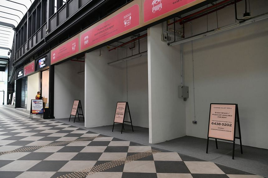 Empty event spaces seen in Change Alley on May 20, 2021.
