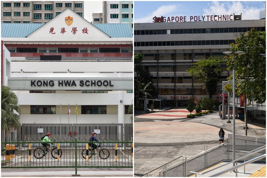 Both Kong Hwa School (left) and Singapore Polytechnic each have four students who tested positive for Covid-19.