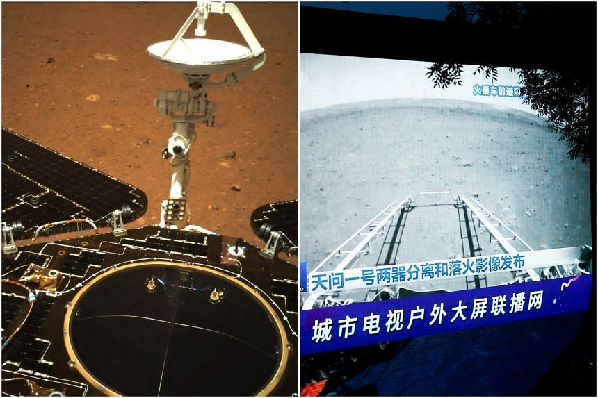 Chinese Mars rover Zhurong on the surface of Mars (left); CCTV state media shows images of Mars taken by Zhurong as part of the Tianwen-1 mission, in Beijing, on May 19, 2021.