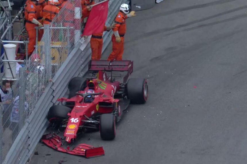 Charles Leclerc halted qualifying 18 seconds from the end after smashing into the barriers.