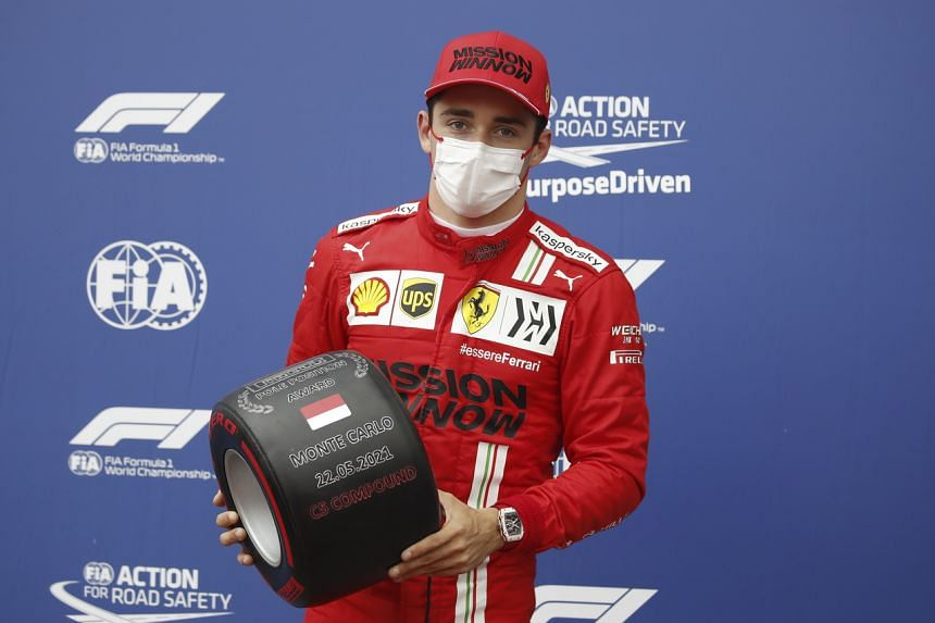 Ferrari pole sitter Charles Leclerc at the Circuit de Monaco in Monte Carlo, on May 22, 2021.