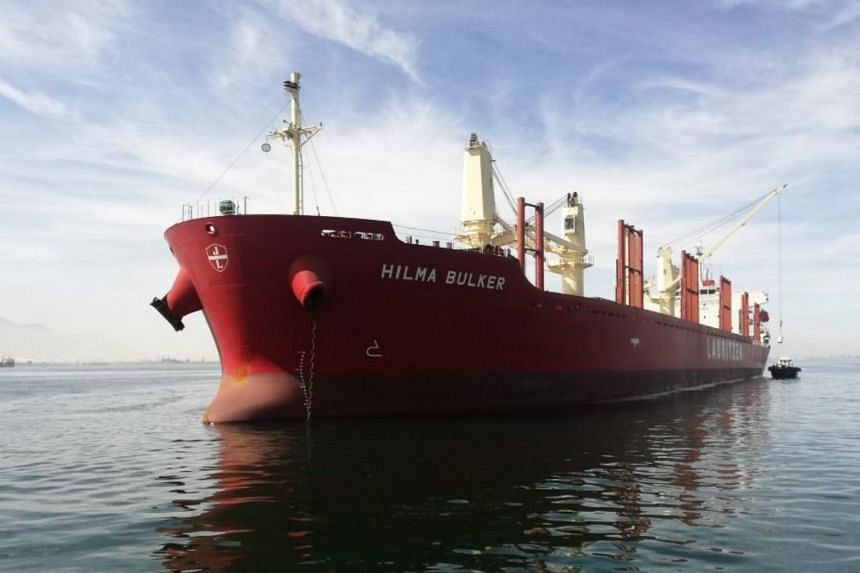 Genome sequencing shows the Hilma Bulker (above) crew had a highly infectious variant first identified in India.