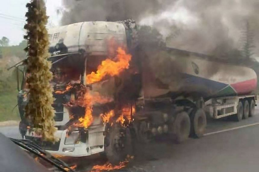 A tanker truck burning after a Kachin Independence Army rebel attack in Shan state near the Chinese border last Tuesday.