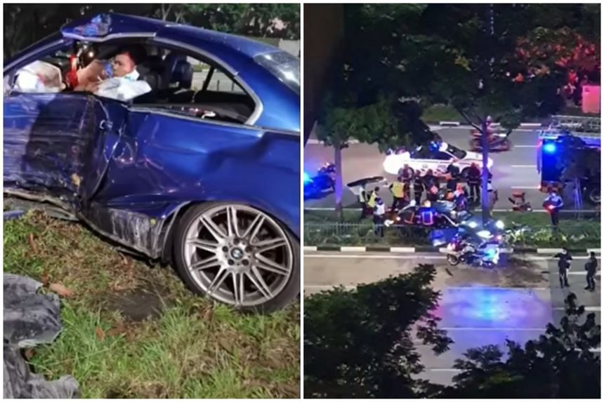 The chase came to an end when the car crashed into a central divider in Punggol Way.