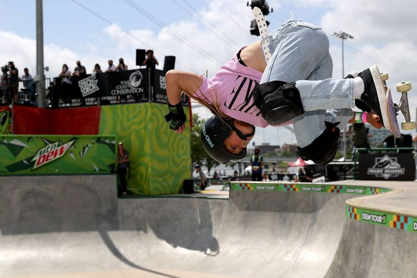 Sky Brown in the women's park final at the Dew Tour in Des Moines, US, on May 23, 2021, where she was second.