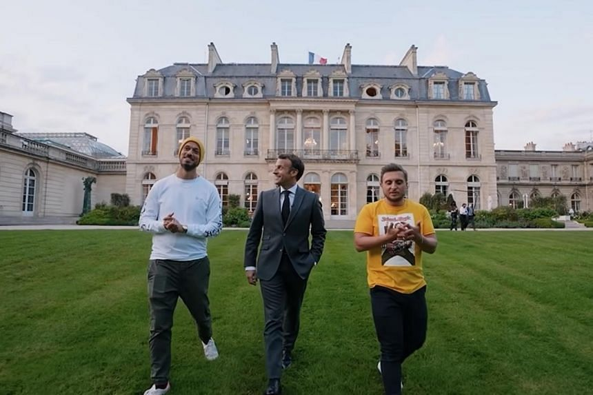 The French President and the YouTubers exchange stories during the show, which ends with a stroll in the Elysee gardens.