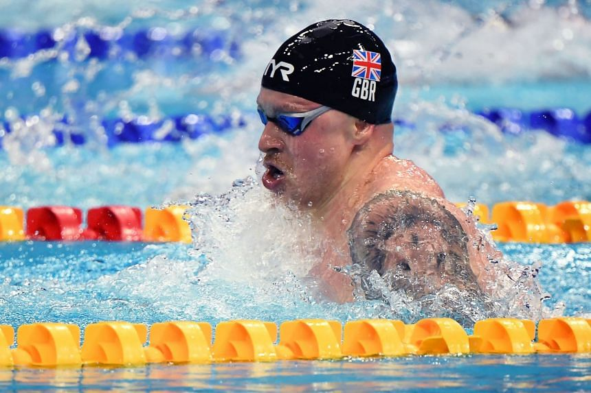 Britain's Adam Peaty competes in the final of the Men's 4x100m Medley Relay Swimming event in Budapest, on May 23, 2021.
