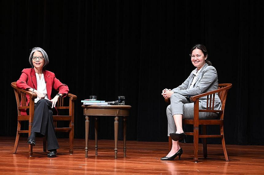 Executive director of Aware Corinna Lim (left) with moderator Eunice Olsen during a question-and-answer session yesterday at the third lecture of this year's Institute of Policy Studies-Nathan Lecture Series. In her lecture, Ms Lim focused on preconc