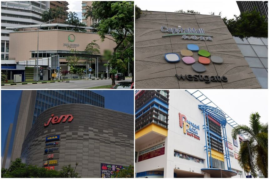 A cleaner at Park Avenue Rochester (top left) may be the source of the cluster at Westgate (top right) and Jem (bottom left). Four Pizza Hut staff in Punggol Plaza were also among the new cases.